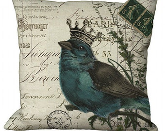 Crowned Bird on invoice in Choice of 14x14 16x16 18x18 20x20 22x22 24x24 26x26 inch Pillow Cover