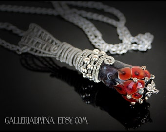 Wire wrapped red lampwork focal bead pendant