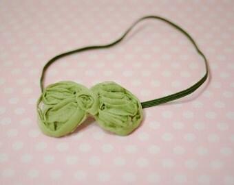 Olive Green Rosette Bow Headband--Newborn-6months Baby Photography Prop