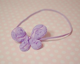 Lavender Lace Rosette Butterfly Headband Newborn - 6 Month Baby Photography Prop