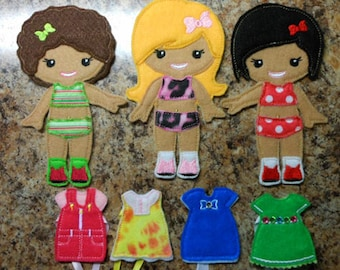 In The Hoop Dress Up BFF Girl Doll Embroidery Machine Design Set