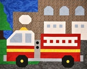 Fire Truck Quilt pattern in Multiple sizes. From small Wall decor to bordered Twin.
