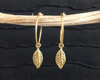 Gold Leaf Earrings - 24kt gold vermeil 15mm hoop - minimalist, everyday jewelry