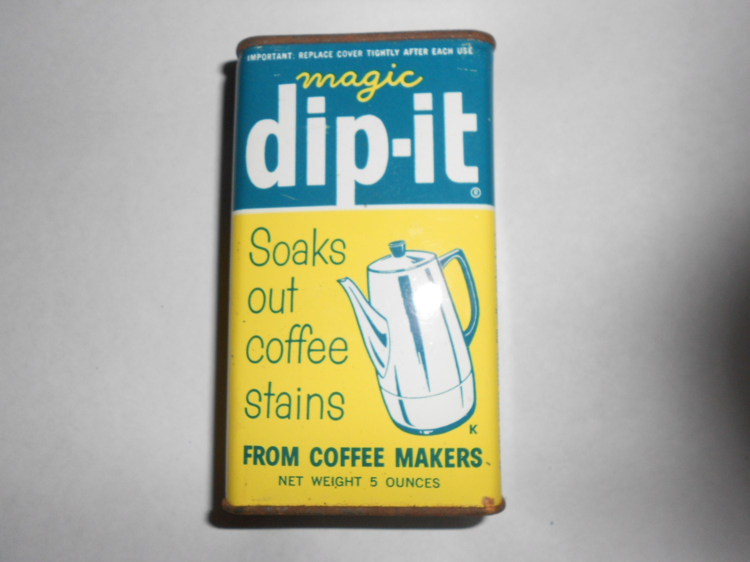 Dip It Coffee Maker Cleaner Instructions : 50s Advertising Tin Magic Dip IT Vintage