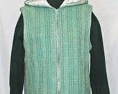 Gray, green hooded handwoven wool  vest, zippered hand woven hoodie