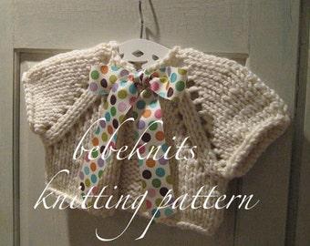 Bebeknits Bow Tied Baby Cardigan Knitting Pattern