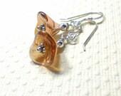 Dangle Earrings, Czech Glass 3 Petal Flower Beads earrings, Rosaline Clesian, Drop Earrings, Flower Earrings, Women's Jewelry
