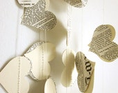 Book Paper Garland - Cream Hearts Garland - Wedding Garland - Upcycled Paper Hearts - Valentine's Day