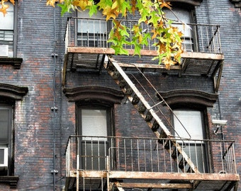 New York City Print, New York  Photography, Fire Escape in NYC, NYC wall art, home decor,