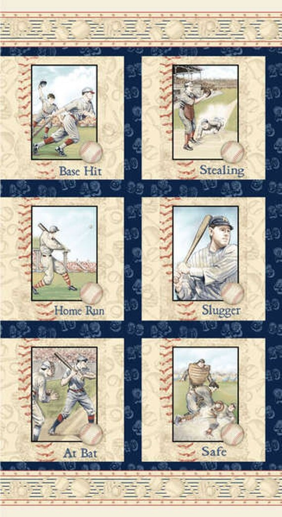 Who S On First Baseball Player Fabric 24x44 Panel By