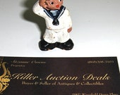 Vintage Sailor Boy  Miniature Red Clay Stoneware Figurine Hand Painted Figure