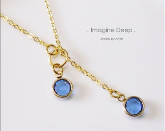 50% off SPECIAL - Blue Lariat Necklace - Gold Plated Sapphire-Like Swarovski Crystal