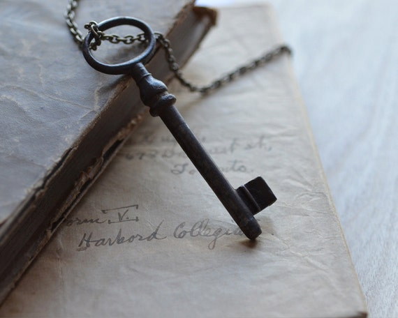 Key to My Heart Necklace Long Distance Love Antique Patina Pendant Charm Aged Nostalgic