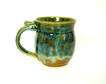 Mug / Coffee Mug / Handmade Pottery / Green Brown