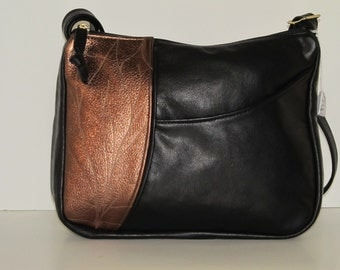 Black leather bag with copper metalic accent, cross-body cowhide womens purse