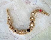 Sliding Bracelet, Vintage Jewelry, NBW, Moon and Stars, Turtle, Rhinestone Heart, Flowers