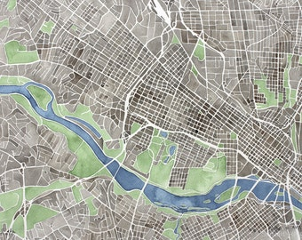 Richmond Virginia  print watercolor city map