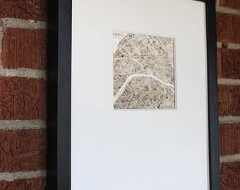 Paris France 5x5 Print sepia watercolor map art Home decor
