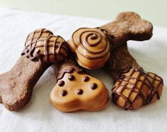 All natural dog treats-Peanut Butter Dipped Carob Dog cookies-organic dog treats-Homemade Gourmet dog treats-po's bag of bones bakery