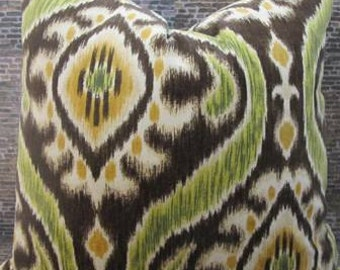 SALE Designer Pillow Cover - Lumbar, 16 x 16, 18  x 18 - Uzbek Velvet Ikat Chocolate