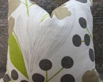 SALE Designer Pillow Cover - Lumbar, 16 x 16, 18  x 18, 20 x 20 - Capparis Olive Floral