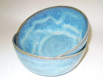 Blue with Brown and Tan Ceramic Bowl, Soup Bowl, Cereal Bowl, Salad Bowl, Serving Bowl