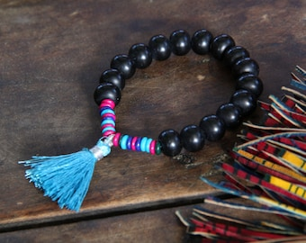 Shimmer in the Night : Black Resin, Bone Beads, Tassel / Summer Tribal Fashion / Stack Bracelet