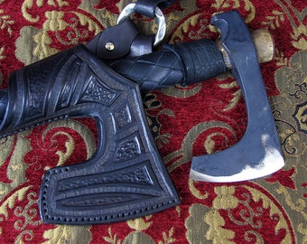 Viking and Barbarians Bearded Throwing axe with Pictish geometric tooled Holster