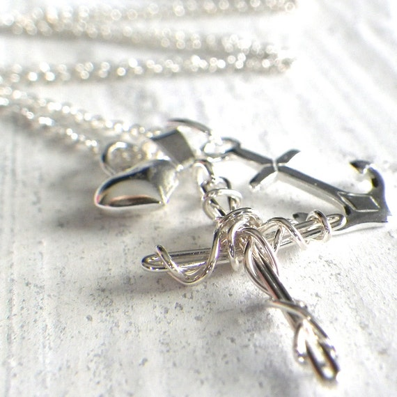 faith, hope, love necklace, sterling silver