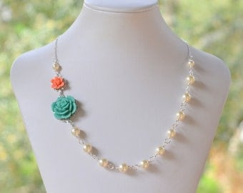 Bridesmaid Jewelry. Turquoise and Coral Orange Bridesmaid Necklace. Pearl Necklace.  Wedding Jewelry. Bridesmaid Gift.