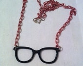 Black frames glasses necklace with pink chain ,glasses necklace, geekery necklace geek jewelry nerdy necklace, geekery, fun jewelry