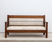 Antique Upholstered Wood Bench