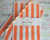 50 Orange Stripe Party Bags, Orange Stripe Favor Bags, Orange Popcorn Bags, Halloween Candy Bags, Orange Gift Bags, Orange Stripe Candy Bags