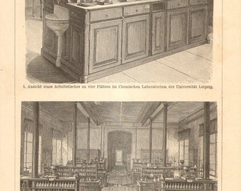 1894 Antique Engraving of a Chemical Laboratory