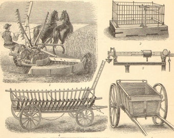 1896 Original Antique Engraving of Agricultural Machinery, Agricultural Equipment