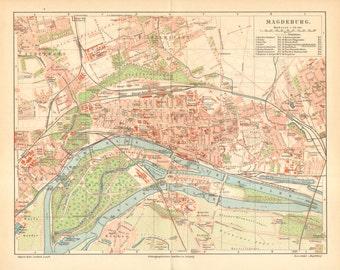 1905 Original Antique City Map of Magdeburg