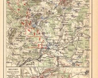 1905 Siege of Belfort and the Battle of the Lisaine Original Antique Dated Map