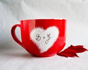Valentines Heart Red Mug - Personalized Large Mug