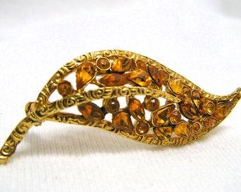 Vintage Golden Leaf Brooch Rhinestones Victorian Revival 1928 Company Stunning