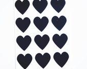48 Heart Label Stickers- BLACK