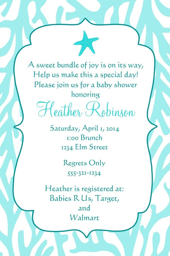 under the sea baby shower invitation printable file coral reef