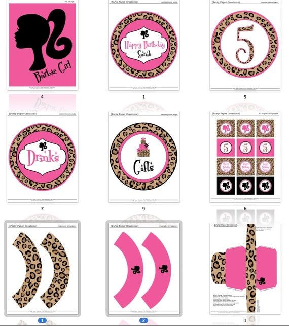 Barbie Zebra Theme 1st And 5th Birthday: Unavailable Listing On Etsy