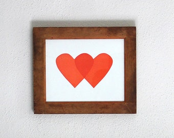 Double Hearts / 8.5 x 11 Letterpress Art Print