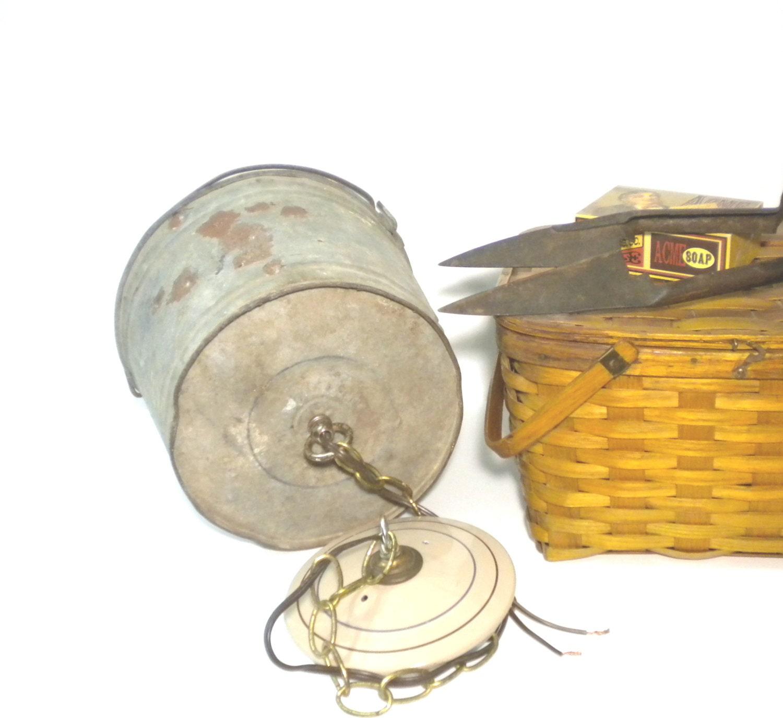 Vintage Swag Lamp Rustic Galvanized Metal Bucket Shade Light