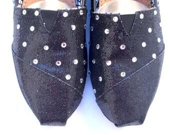 The Rhianna - Black Glitter TOMS with Swarovski Crystals