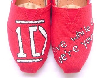 One Direction - Red One Direction Custom TOMS