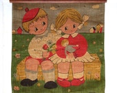 SALE Children with Flowers and Doll Vintage Burlap Wall Hanging