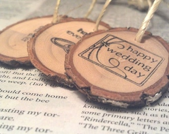 Natural Wood Hand-stamped Woodland Branch Mason Jar Gift Tags Rustic Favors  Gift Tags 50 pieces BULK ORDER tree bark  Green