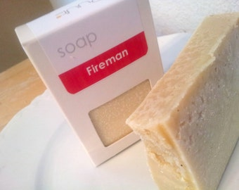 VEGAN Castile Soap Fireman Men's Soap Hot Process Soap Bar with Minerals Fresh Scent Bath Bar Olive Oil Soap