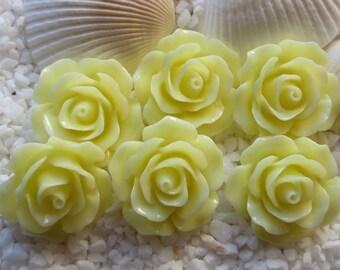 Resin Flower Cabochon - 18mm - 12pcs - Ivory